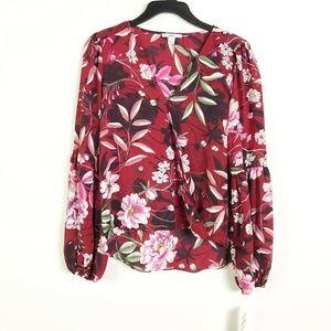 Bar III L Burgundy Floral Poet Sleeve Top M2-06